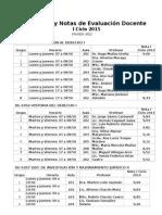 Lista de Profesores y Notas I Ciclo 2015 - AED