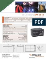 Sunlight Battery 12V 12Ah