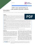 Quantitative tandem mass-spectrometry of skin tissue reveals putative psoriatic arthritis biomarkers.