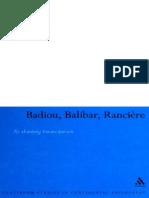 Nick Hewlett Badiou, Balibar, Ranciere_ Re-thinking Emancipation 2007