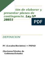 Obligación de Elaborar y Presentar Planes de Contingencia, Ley Nº 28851