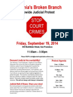 Judicial Council Protest - Center for Judicial Excellence Stop Court Crimes Campaign - Sacramento Superior Court - Supreme Court of California - Judicial Council of California San Francisco - Judicial Accountability Protest Agenda