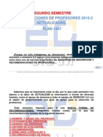 SEGUNDO SEMESTRE. Recomendaciones de Profesores Actualizadas, Plan 1447, 2015-2.