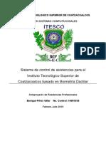 Sistema de control de asistencias para el Instituto Tecnológico Superior de Coatzacoalcos basado en Biometría Dactilar