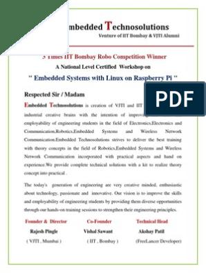 Raspberry Pi Workshop Proposal | Raspberry Pi | Embedded System