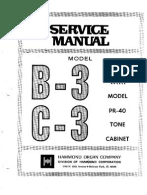 Hammond Organ b3-c3 Service Manual on