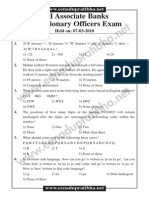 SBI Associate Banks PO Exam 7-3-2010 Solved Paper Version II