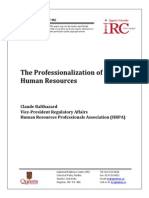 The Professionalization of Human Resources by Claude Balthazard