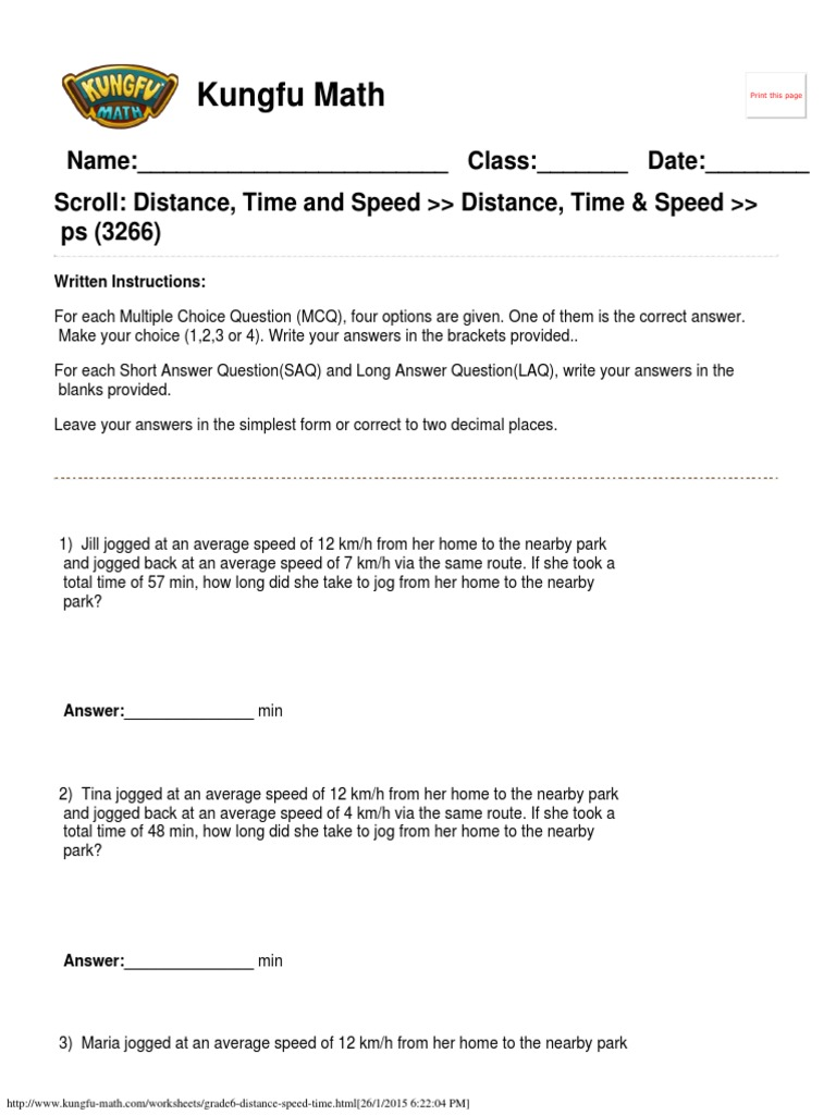 Singapore Math Worksheets Grade 6 Distance Speed and Time – Average Speed Worksheet