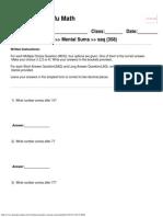 Singapore Math Worksheets Grade 1 Mental Sums www.kungfu-math.com