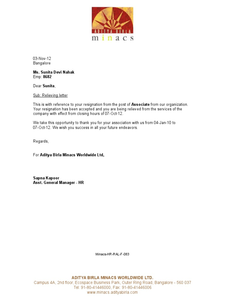Relieving Letter Experience Certificate Format.  1522718228 v 1