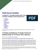 Training Tatalaksana Transfer Pasien Di Rumah Sakit (9-10 Maret 2015 Jakarta) _ BMD Street Consulting