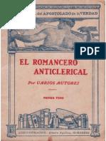 El Romancero Anticlerical Tomo 1o Varios Autores