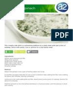 Creamed Spinach - A2 Milk Recipe