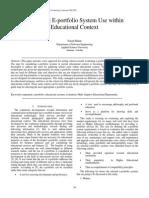 Evaluating E-portfolio System Use within Educational Context