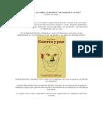 Resumen de La Obra Literaria Guerra y Paz