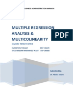MULTIPLE REGRESSION ANALYSIS & MULTICOLINEARITY by Humayun Yousaf - Hassaan Wasti