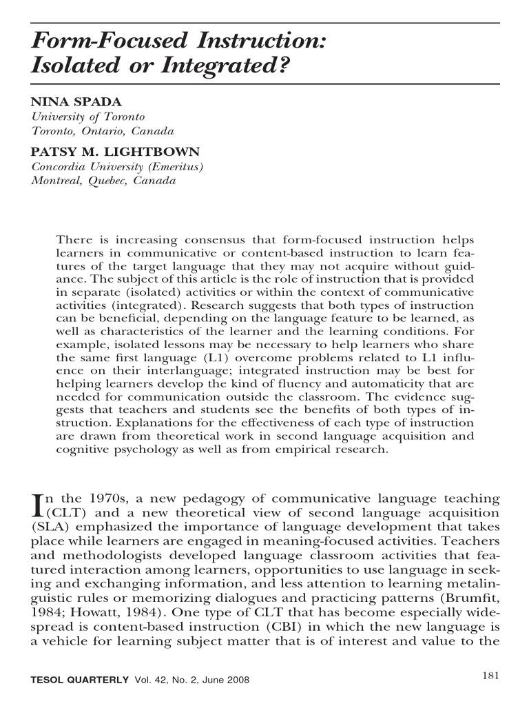 Spada Lightbown2008form Focused Instruction Second Language