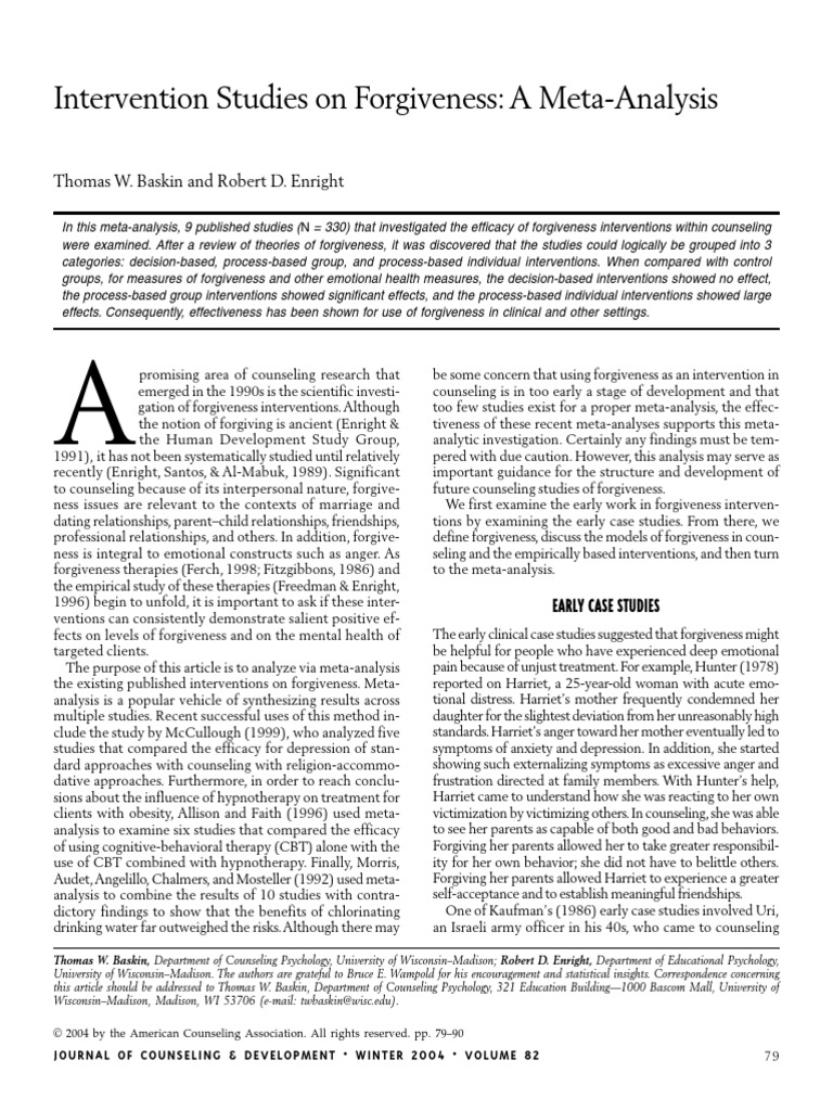 intervention studies on forgiveness a meta analysis