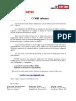 Comunicado CCOO a favor de despedimentos ETT na empresa Bosch-Vigo