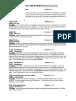 Workshop List 2009