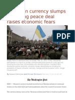 Ukrainian Currency Slumps as Fraying Peace Deal Raises Economic Fears