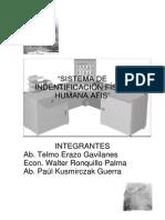AFIS Sistema de Indentificacion Fisica Humana