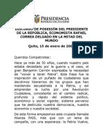2007 01 15 Discurso Posesión Presidencial Mitad Del Mundo (1)