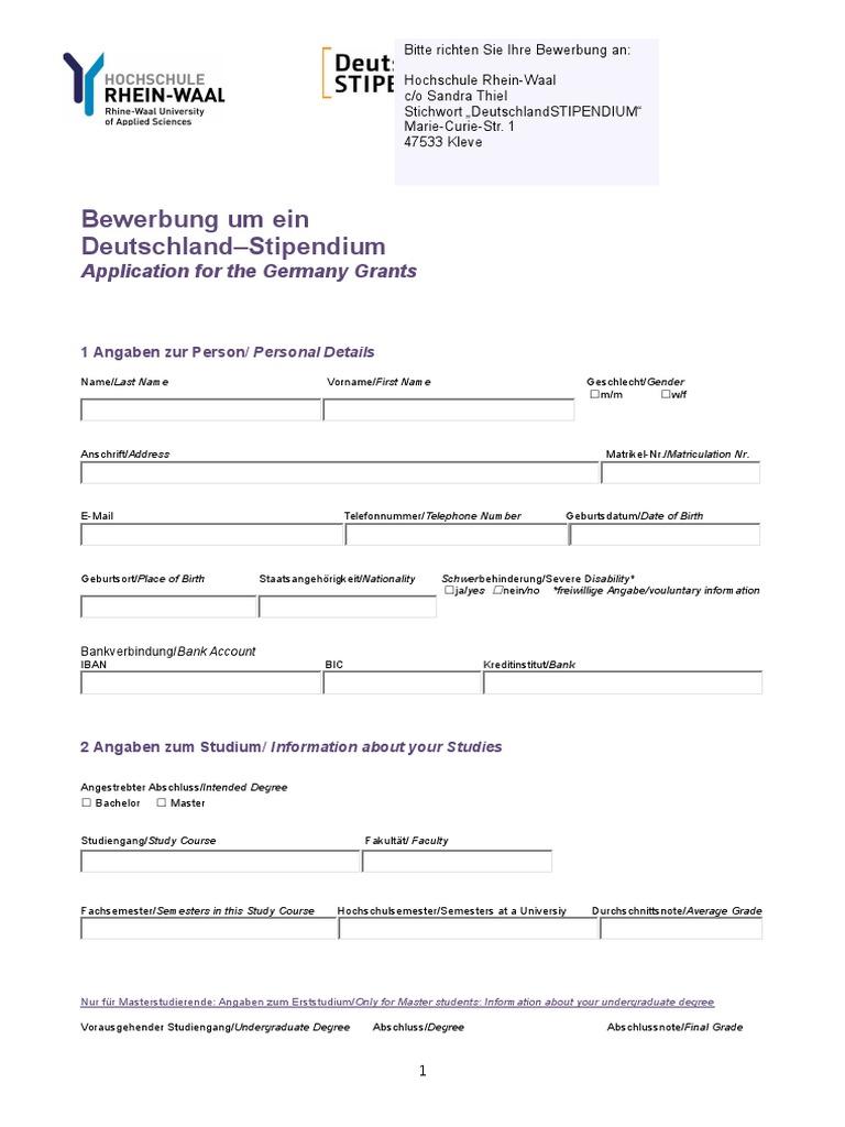 deutschland stipendium germany grant - Bewerbung Deutschlandstipendium