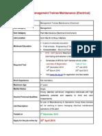 Management Trainee Maintenance (Electrical)