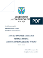 Listă Cu Termeni de Specialitate Pentru Disciplina Curriculum Pentru Educaţie Timpurie