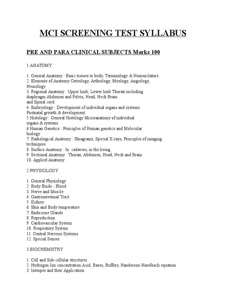 Mci Screening Test Syllabus | Anatomy | Metabolism