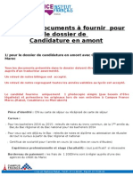 Liste Des Documents Pour Candidature en Amont 2015 2016 Quater