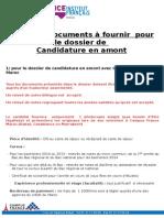 Liste Des Documents Pour Candidature en Amont 2015 2016 Quater
