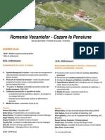 Agenda Conferintei Romania Vacantelor - Cazare la Pensiune