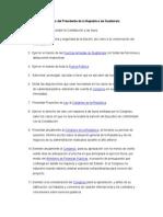 Funciones Del Presidente de La República de Guatemala
