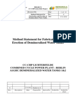 Method Statement for Fabrication and Erection of Demineralized Water Tanks