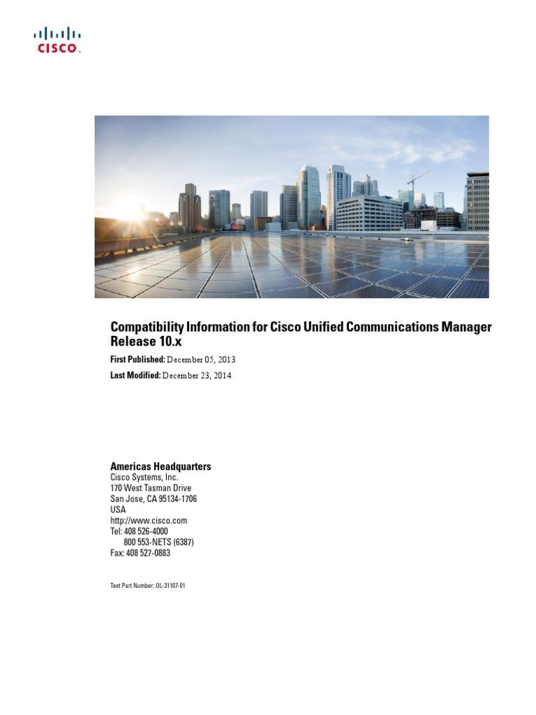 CUCM BK CD1DB914 00 Compat Matrix | Cisco Systems | Session