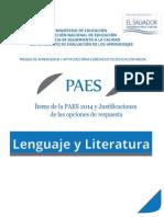 Ítems de La PAES 2014 y Justificaciones de Las Opciones d e Respuestas - Lenguaje y Literatura