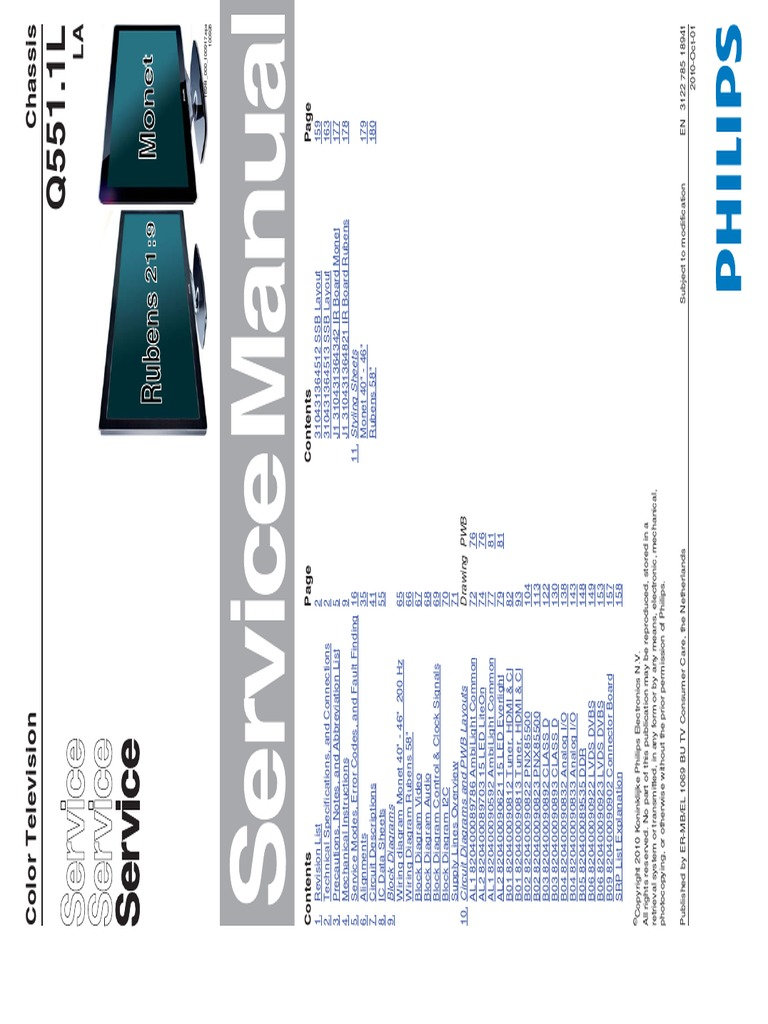 Manual Servico Tv Lcd Philips 40pfl9605d 78 Television Hdmi Led Schematic Tcon Board Or