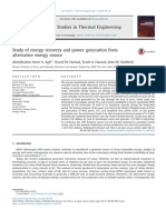 Study of Energy Recovery and Power Generation From Alternative Energy