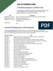 List of Welding Codes