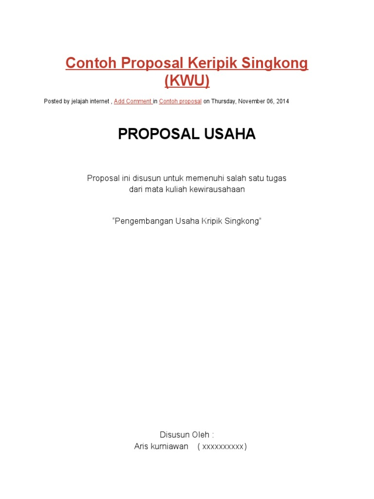 Contoh Proposal Keripik Singkong Docx