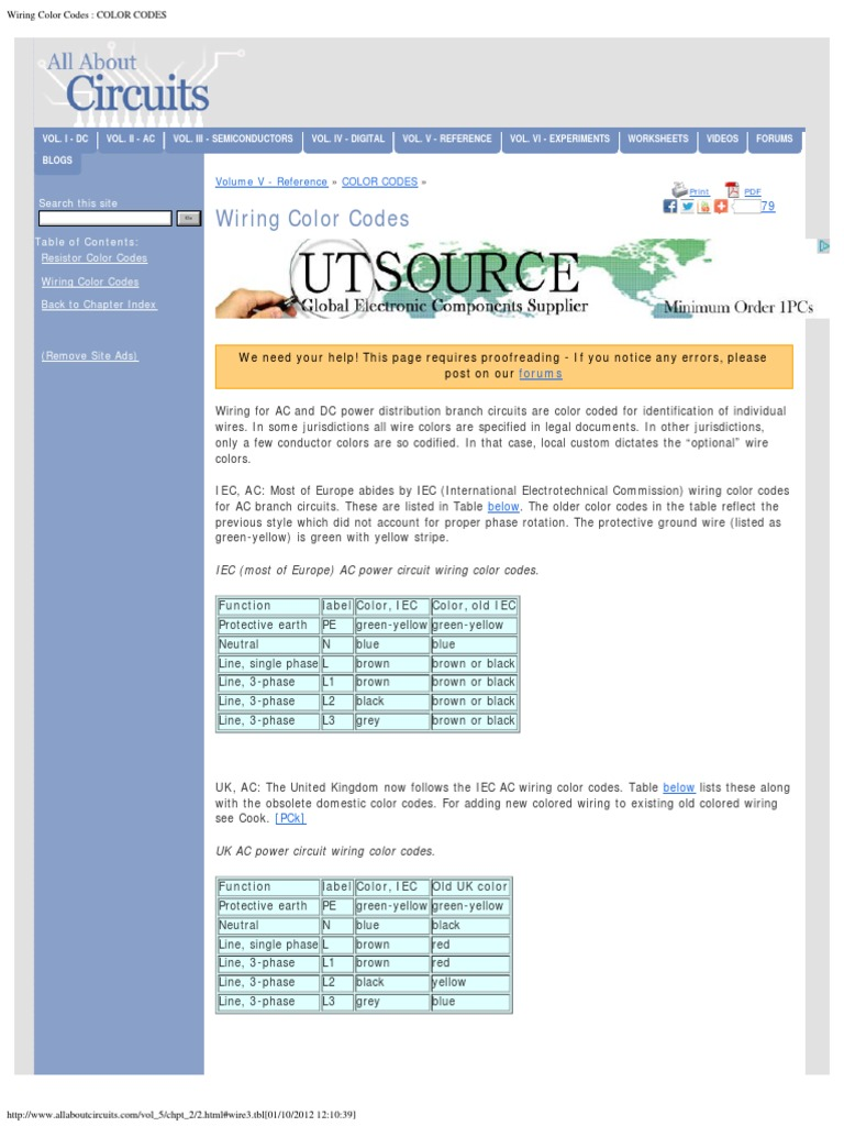 Wire Color Code Table - Today Diagram Database on
