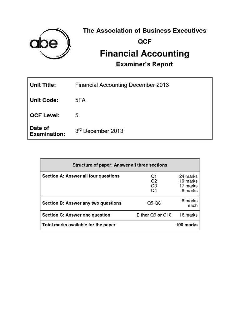5FA Examiner'SReport SuggestedAnswers 12.13 | Debits And Credits | Balance  Sheet