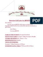 Interview Call Letter for JBNSTS 2014
