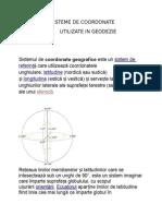 Sisteme de Coordonate Utilizate in Geodezie