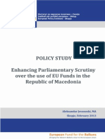 Enhancing Parliamentary Control Over the Use of EU Funds in the Republic of Macedonia