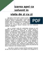 Utilizarea Apei CA Solvent In