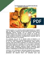 La Necropsia Psicológica en La Investigación de Muertes Dudosas